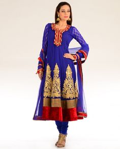 Exclusively.In  Blue Kalidar Suit with Floral Embroidered Hem