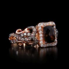 Le Vian® Chocolate Quartz® Ring in 14K Strawberry Gold® accented with Chocolate Diamonds® and Vanilla Diamonds®.  At Kay Jewelers