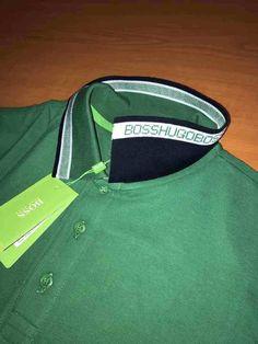Men Polo Hugo Boss T-Shirt Color Green Paddy Button Collar size M