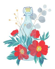Peones, botanical #illustration #illustrator #botanical #drawing #floral #glass #bottle
