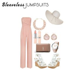 """sleeveless jumpsuits"" by rockstarkaytie ❤ liked on Polyvore featuring Reiss, Yves Saint Laurent, Nine West, Monica Vinader, DIANA BROUSSARD and sleevelessjumpsuits"