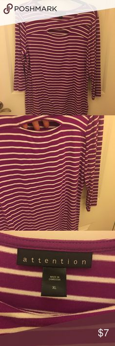 Ladies keyhole striped shirt Pretty purple and white striped 3/4 length sleeve shirt. Keyhole cutout right above bust area. Never worn. Like new condition. attention Tops