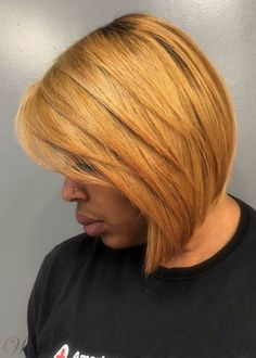 60 Showiest Bob Haircuts for Black Women - - African American Blonde Layered Bob Bob Hairstyles For Thick, Haircut For Thick Hair, Black Women Hairstyles, Cool Hairstyles, Bob Haircuts, Natural Hairstyles, Wedding Hairstyles, Chic Short Hair, Short Hair Styles