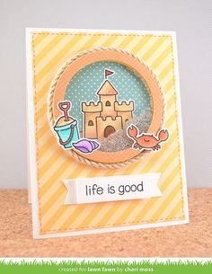 Lawn Fawn - Life is Good, Let's Polka 6x6 paper, Circle Stackables Lawn Cuts dies _ card by Chari for Lawn Fawn Design Team