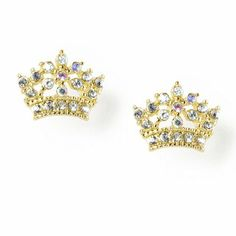 Crystal Crown Stud Earrings | Claire's