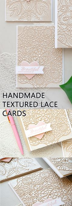 Handmade textured lace cards with Simon Says Stamp stencils, Ranger texture paste and Hero Arts embossing powder. Video tutorial on my blog.