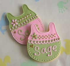 PINK and SAGE Baby Shower Cookies Baby Carriage by lorisplace