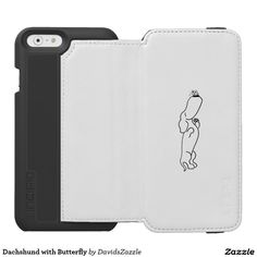 Dachshund with Butterfly Phone Wallet Available on more products! Type in the name of this design in the search bar on my Zazzle Products page!  #dog #dachshund #butterfly #insect #cute #cartoon #cuddly #sweet #friend #friendship #line #drawing #illustration #tail #wag #pet #animal #world #nature #planet #smile #buy #sale #zazzle #phone #case #tablet #folio #folding #laptop #computer #sleeve #accessory #electronic #gear #iphone #apple #mac #samsung