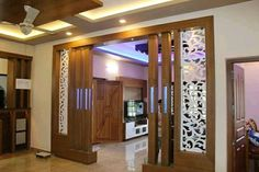 Impressive Design Ideas from Beautiful Outdoor and Interior Partitions HomeDesign Room Partition Wall, Living Room Partition Design, Pooja Room Door Design, Living Room Tv Unit Designs, Room Partition Designs, Home Room Design, Glass Partition, False Ceiling Living Room, Ceiling Design Living Room