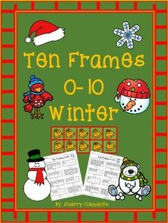 Ten Frames 0-10 WinterThese ten frames include 28 winter graphics (bell, Santa - 2, wreath, cocoa mug, snowflake - 2, mitten - 2, stocking, Santa's hat, candy cane, Christmas tree - 2, present - 2, snowman - 2, reindeer head, Santa head, Mrs. Claus' head, snowman head, rag doll, toy soldier, drum set, snow bear, snow bird, and winter hat).There are 2 pages per graphic listed totaling 56 pages.