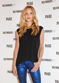 Metallic jeans, simple tee, statement necklace (Rosie Huntington-Whiteley in Paige Denim)