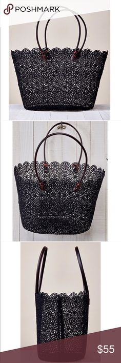 """Daisy Lace Tote Fabulous black crochet daisy lace woven tote bag. A perfect addition to your summer wardrobe. Such a versatile piece. Carry it to the beach, carry it to the gym, great as a catch all tote for running errrands too. Go girly and wear it on date night.  Coated floral crochet lace tote bag with scallop finish and vegan leather straps details. 70% POLYESTER, 30% RESIN                                                          Width 18"""" Depth 11"""" Strap Drop 8"""" Threads & Trends Bags…"""