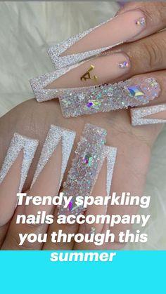 Nail Designs Bling, Nails Design With Rhinestones, Chic Nails, Stylish Nails, Spring Nails, Summer Nails, Really Long Nails, Palm Nails, Multicolored Nails