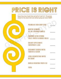 Price Is Right Printable Game #printablegame #priceisrightgame #etsy