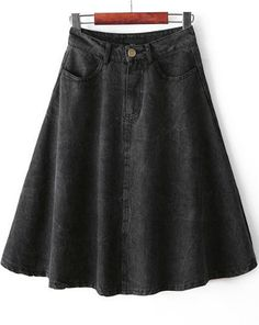 Shop Black High Waist Pockets Denim Skirt online. Sheinside offers Black High Waist Pockets Denim Skirt & more to fit your fashionable needs. Free Shipping Worldwide!