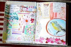 new art journal & first few pages Pam Garrison