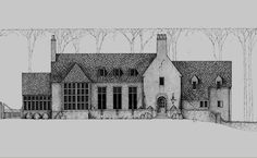 Bates Corkern Architecture~scale, modify a little, perfect type barn exterior idea.barn castle maybe. Architecture Sketchbook, Architecture Design, Facade House, House Exteriors, Villa, Tudor Style Homes, Home On The Range, Amazing Buildings, Stone Houses