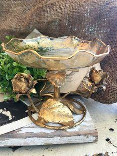 Gold Florentine Rose Pedestal Bowl by DaphsSmallWorld on Etsy