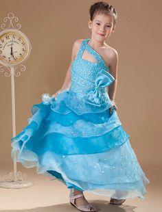 Elegant One Shoulder Handmade Beading Long Flower Girl Dress