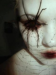 .Spooky Halloween eye -- Spider sits over the eye not too difficult to duplicate