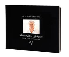Leather perfect bind with photo window memorial guest book with 3 lines of personalized imprinting on cover.