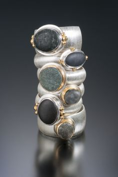 Beach pebble rings in sterling silver & 18K gold. www.jnielsenjewelry.com