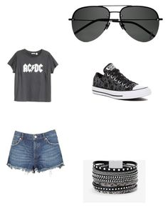 """""""Untitled #16"""" by greyrose223 on Polyvore featuring H&M, Free People, Converse, White House Black Market and Yves Saint Laurent"""