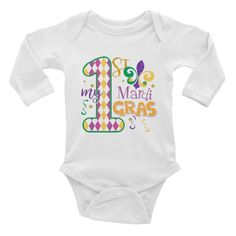 My First Mardi Gras Outfit - Infant Bodysuit Onesie - Purple Green Gold #myfirstmardgras #mardigrasoutfit
