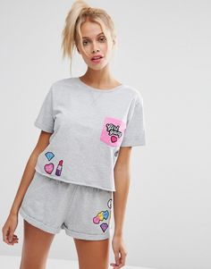 Image 1 of ASOS Girl Gang Crop Sweat Tee & Short Pajama Set