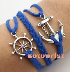 Silver Anchor Rudder Bracelet Wax Cords Leather by gotowrist, $4.99. I would love to learn how to make these...