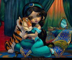 Princess Jasmine And Rajah | Art by Jasmine Becket-Griffith