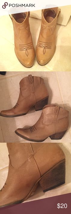 Cowboy Booties Only worn once. Size 6. Very Volatile Shoes Ankle Boots & Booties