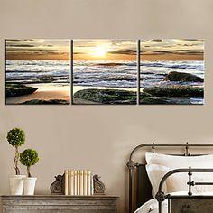 Stretched Canvas Art Landscape Rolled Waves Set of 3 - USD $ 59.99