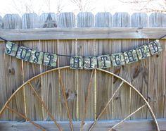 Camo Just Hitched Banner Wedding Camo Wedding Banner. $22.95, via Etsy.
