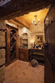 Large antique doors from Albuquerque make an immediate statement leading into the wine room.