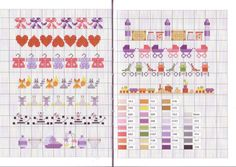 Page of baby theme borders. This is a miniature cross stitch chart / cross stitch pattern, but may also be used for: crochet, knitting motifs, knotting, loom beading, Perler beading, weaving and tapestry design, pixel art, micro macrame, friendship bracelets, and anything involving the use of a charted pattern.