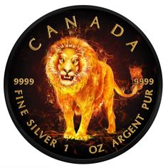 2018 RCM 1 Ounce Burning Animals Lion Maple Leaf Colored Ruthenium Silver Coin Platinum Group, Platinum Metal, Silver Maple Leaf, Hobo Nickel, Sistine Chapel, Leaf Coloring, Ivory Coast, Silver Coins, Lion Sculpture