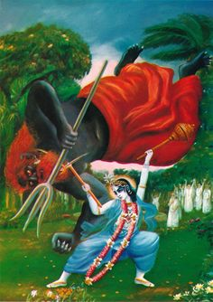 At the first opportunity Balarama dragged the demon Balvala down with His plow.
