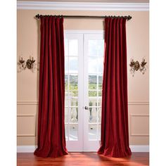Exclusive Fabrics Claret Red Vintage Cotton Velvet Curtain  Overstock Great Deals On