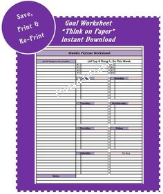 Weekly Planner Worksheet by EverydayForms on Etsy
