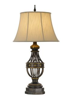 Table lights a good quality pair of late 19th early 20th antique brown table lamp with shade el010 greentooth Gallery