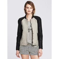 Banana Republic Womens Colorblock Bomber Jacket Size 8 Petite - Cream (92 CAD) ❤ liked on Polyvore