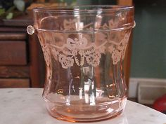 Image detail for -ELEGANT PINK ETCHED DEPRESSION GLASS ICE BUCKET Completed