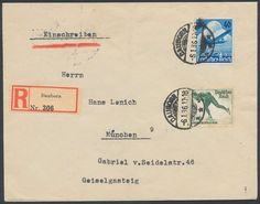 """Germany, German Empire, German Reich 1936, 10 years Lufthansa, with first days postmark """"DAUBORN 6. 1. 36"""", with additional franking on registered cover to Munich, rare FCD (Bf., Michel-no. 603, Michel EUR 600,). Price Estimate (8/2016): 120 EUR. Unsold."""