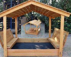 Colourful Truck Sandbox With Shade Cover - The Wood Workshop Kids Backyard Playground, Backyard Playset, Backyard For Kids, Backyard Projects, Outdoor Projects, Kids Sandbox, Sandbox Ideas, Sandbox Diy, Sandbox Sand