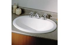 Cheviot Belville Drop-In Basin with Faucet Drilling in White Drop In Bathroom Sinks, Drop In Sink, Bath Fixtures, Porcelain Ceramics, Pedestal, Basin, Faucets, Home Decor, Accessories