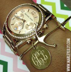 Monogrammed German Silver Gold Tone Anchor Bracelet