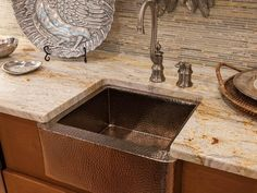- Traditional Kitchen Wet Bar on HGTV - LOVE the sink and the backsplash - counter top is a little too busy for me in this layout Wet Bar Sink, Kitchen Wet Bar, Apron Front Kitchen Sink, Kitchen Ideas, Kitchen Upgrades, Kitchen Reno, Kitchen Inspiration, Kitchen Designs, Copper Farm Sink