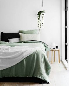 Monday but dreaming of Sunday. - Architecture and Home Decor - Bedroom - Bathroom - Kitchen And Living Room Interior Design Decorating Ideas - Bedroom Green, Home Bedroom, Bedroom Ideas, Master Bedroom, Modern Bedroom, Master Suite, Bedroom Alcove, Bedroom Designs, Artwork For Bedroom