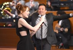 """Emma Stone and Jimmy Fallon have a """"Lip Sync Battle"""" on The Tonight Show Starring Jimmy Fallon in New York City."""